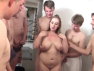 Slutty chubby girl with massive tits and nice hips gets on her knees for white cock