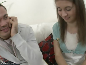 Petite Russian teen gets a surprise visit from her friend and gets dicked hard.
